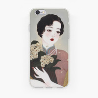 Lady With Flower TPU Frosted Soft Case for iPhone 5 5S iPhone 6/Plus