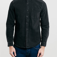 Washed Black Denim Long Sleeve Shirt - Topman