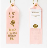 Bada$$ Birthday Babe Award Ribbon in Blush Pink with Gold