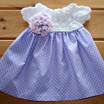 Handmade newborn baby crochet & fabric cotton dress 0 to 3 months Lilac white pink infant dress Hand sewn baby girl clothes Baby shower gift