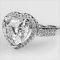 Panna 5.5ct Heart Solitaire Engagement Ring | 6.8ct