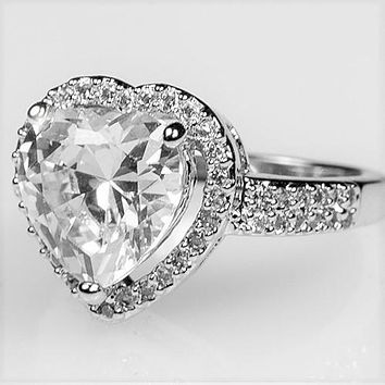 Panna Heart  Solitaire Engagement Ring | 6.8ct | Cubic Zirconia