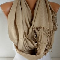 ON SALE - Beige Infinity Scarf  Circle Scarf  Loop  Scarf  with Fringe Gift -fatwoman