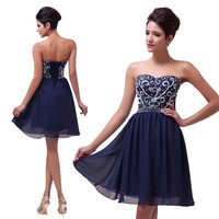 Grace Karin Sexy Beaded and Sequins Shining Short Customized Prom Dresses Navy Blue Red Green Black Evening Dress = 5739045185