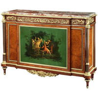 Antique Amboyna and Painted Side Cabinet by Henry Dasson