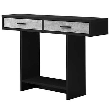 "Black, Grey, Particle Board, Hollow-Core - Accent Table with 2 Drawers 12'.25"" x 47'.25"" x 32"""