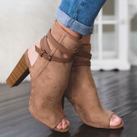 Need You Too Wrap Strap Cut Out Bootie (Taupe)