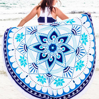 Round Tassel Beach Towel Decorative Wall Hanging Picnic Beach Sheet Coverlet Bohemian Mandala Wall Tapestry 11742 148cm*148cm