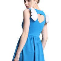 ROMWE | Cut-out Wings Embellished Blue Dress, The Latest Street Fashion