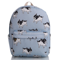 Cute Dogs Printed Canvas Backpack College School Bag Travel Daypack