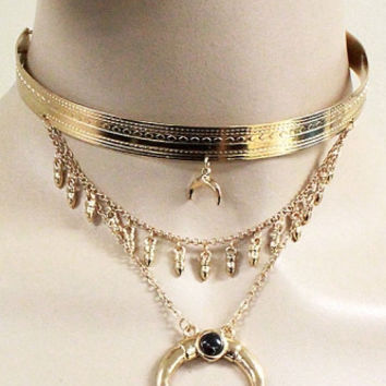 """14"""" gold moon pendant layered choker collar necklace .50"""" earrings"""