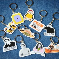 TV Show Friends Characters Cartoon Acrylic Keychains Key Chain Accessories Collectible Key Ring Chains Charms Pendant Jewelry