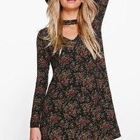 Laura High Neck Cut Out Back Swing Dress