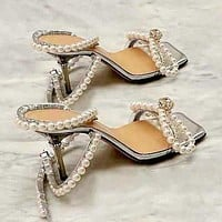 New Sexy Lady Square Toe High Heels Pearl Bow Sandals Shoes Dress