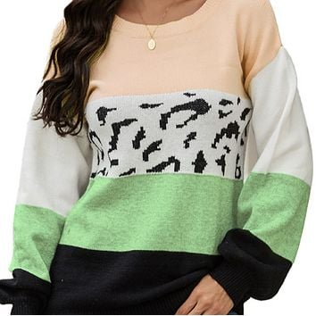 New women's fashion long-sleeved leopard print loose wild sweater