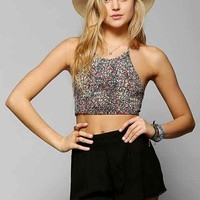 Pins And Needles Smocked Cropped Halter Top-