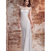 LM by Mignon Antique Ivory Jeweled Cap Sleeve Long Dress