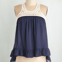 Nautical Short Length Sleeveless That's the Ruffle! Top by ModCloth