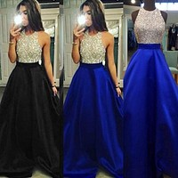 2018 Newly Women Dress Sequined Sequins Spaghetti Strap Formal Wedding Long Party Ball Prom Maxi Dress