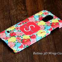 Stylish Floral Custom Monogram 3D-Wrap Samsung Galaxy S5 Case Galaxy S4 Case Galaxy S3 Case Galaxy Note 3 and Note 2 Case