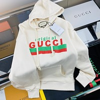 GUCCI Red and green letter printed logo couple Hoodie