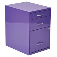 "OSP Designs 22"""" Pencil, Box, Storage File Cabinet in Purple Finish"