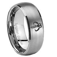 10mm Boba Dome Brushed Tungsten Carbide Rings for Men