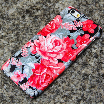 Vintage Red Floral iPhone 6 Case iPhone 6 plus Case iPhone 5S 5iPhone 5CiPhone 4S/4 Samsung Galaxy S6 edge S6 S5 S4 S3 Note 3 Case 018