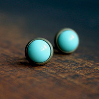 stud earrings turquoise, bronze // simple round earring studs - tiny stud earrings for girls, women - everyday minimalist jewelry