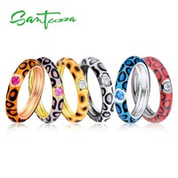 SANTUZZA Silver Rings for Women Colorful leopard print Pure 925 Sterling Silver Eternity Ring Fashion Jewelry  Enamel HANDMADE