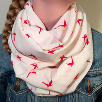 Spring, Summer Lightweight Infinity Scarf, Loop Scarf, Circle Scarf - Cream, Ivory with Red Birds, Mother's Day, Birthday, Easter