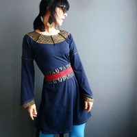 Dear Darkness - iheartfink Handmade Hand Printed Womens Unique Edgy Navy Blue Jersey Mini Dress