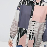 ASOS Oversized Abstract Print Shirt at asos.com