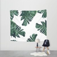 Banana Leaf Watercolor Pattern #society6 Wall Tapestry by 83oranges.com