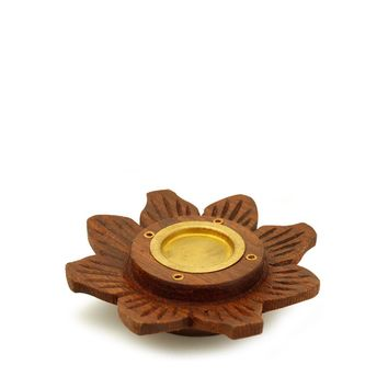 Incense Burner - Wooden Round Plate Lotus - 4 inches