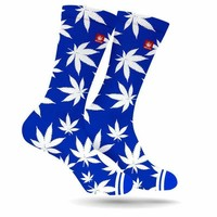 DODGER BLUE WEED MARIJUANA STONER SOCKS