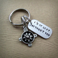 I'd Be Lost Without You - Handstamped Compass Keychain - I Love You Gifts for Him - Long Distance Relationship Gift - Love Key Chain