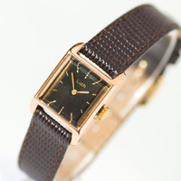 Black women's watch Ray, square wrist watch for lady, gold plated fashion watch, urban elegance watch her, premium leather strap new