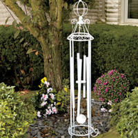 White Freestanding Wind Chimes Soothing Chimes Garden Patio Outdoor Yard Decor
