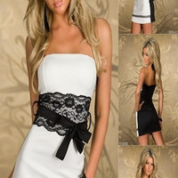Sexy Strapless White Lace Covered Dress Clubwear Ball Party Evening Cocktail M/L/XL