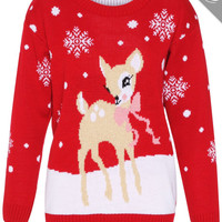 Baby Reindeer Ugly Christmas Sweater with snowflakes