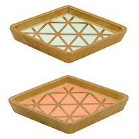 Diamond Trinket Tray in Coral or Turquoise | Ceramic Ring Dish for Dresser or Nightstand