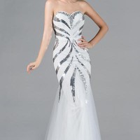 PRIMA C132452 White Black or Champagne Sequin Prom Dress