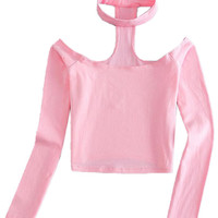 Pink Halter Off Shoulder Long Sleeve Crop Top