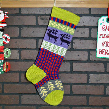 Christmas Stocking, Colorful Hand Knit Fair Isle Stocking, Green Cuff with Whimsical Reindeer and Trees, can be personalized, shower gift