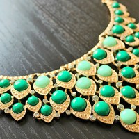 Green Statement Necklace- Statement Necklaces, Chunky Necklaces, Choker Necklace