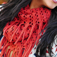How About Some Fringe Scarf: Burnt Orange | Hope's