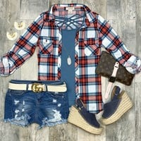 Penny Plaid Flannel Top: Red/Blues