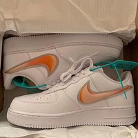 Nike Air Force 1 AF1 orange large hook men and women wild casual shoes