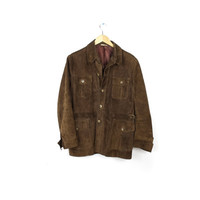vintage italian suede leather jacket / horn tortoise shell buttons / brown western motorcycle biker hippie / 1970s 70s / slim fit mens small